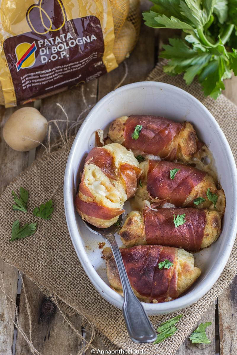 Involtini di patate con prosciutto e mozzarella