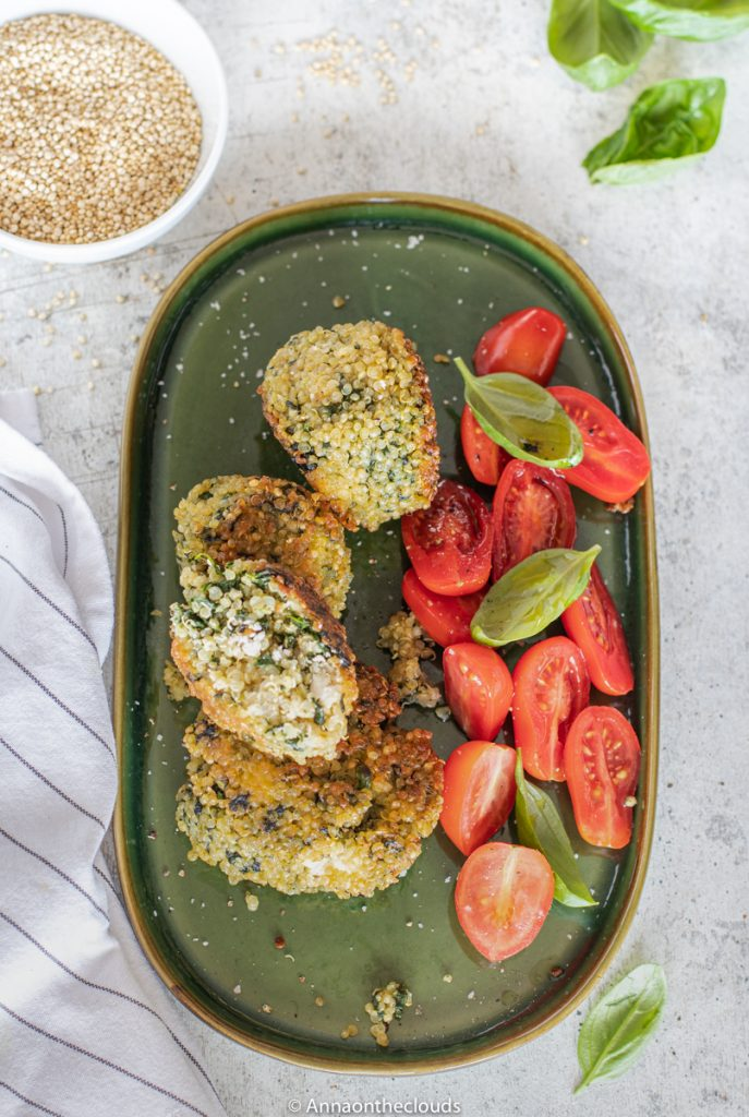 Crocchette di quinoa, spinaci e feta